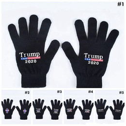 Trump 2020 Gloves Keep America Great Letter Printed Five Finger Gloves Outdoor Sports Winter Warm Mittens MMA2963 on Sale