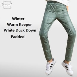padded drawstring NZ - Pencil Pants Winter Women Double Face 150 Down Padded Woman Slim Elastic Waist Thick Winter Pants Lady 80% Down Pt