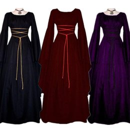 Wholesale cosplay medieval for sale – halloween New Middle Ages Dress Halloween Costumes for Women Medieval Cosplay Vampire Devil Bride Party Court Carnival Dresses