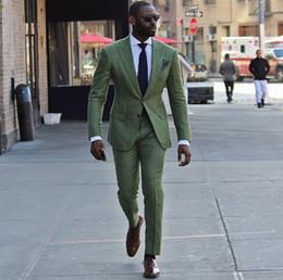 Beige Slim Suits For Men Australia - New Green Men Suits 2019 Wedding Tuxedos Custom Made Peakked Lapel Slim Fit Best Man Suit For Prom Two Pieces (Jacket+Pants+Tie) 0086