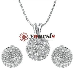 $enCountryForm.capitalKeyWord Australia - Yoursfs Bridesmaid Jewelry Set Round Sparkly Cluster Rhinestone Disc Ball Clip on Earrings&Pendant Necklace