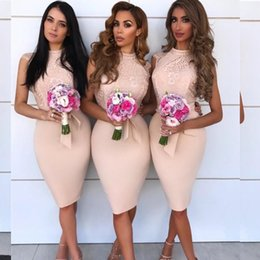 Wholesale 2019 Sheath Boho Bridesmaid Dress Cheap Summer Country Formal Wedding Party Guest Maid of Honor Gown Plus Size Knee Length Custom Made Dress