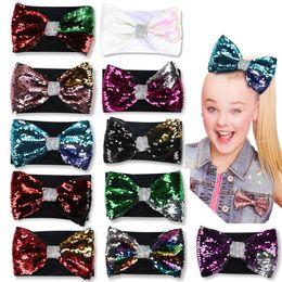 $enCountryForm.capitalKeyWord Australia - 8 inch Jojo Siwa Bows hair accessories for girls 11 Colors Sequins JOJO Hair Bows with Elastic Headband DHL SS277