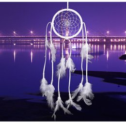 Discount white feather home decor Freeshipping Hade Dream Catcher Net With Feathers Wall Hanging 50 cm Dreamcatcher Decor Craft Gift For Home Decoration B