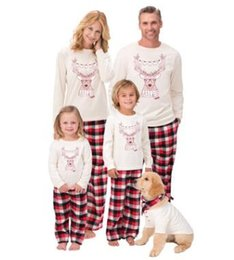 38213f49e1 Autumn Warm Fall Winter Xmas deer printed plaid christmas Family Kids Women  Men Adult sleepwear Pajamas Set Striped Pyjamas 262