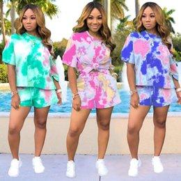 $enCountryForm.capitalKeyWord Australia - Women tracksuit summer shorts outfits women s clothing 2 piece set pullover legging t shirt womens tops fashion print sports suit klw1748