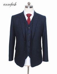 $enCountryForm.capitalKeyWord Australia - Custom Made Retro Melange Color Spot Copper Navy Woolen Tweed Suit British Style Mens Suit Slim Fit Blazer Wedding Suit 3pcs MX190725