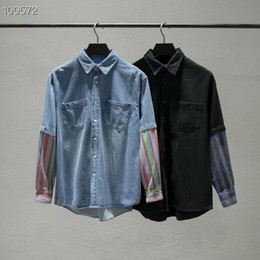 Discount couple long shirts - HIPHOP Stitching Denim Jacket Shirts Early Spring Autumn Casual Street Fashion Coat Men Women Jacket Outwear Couple T Sh