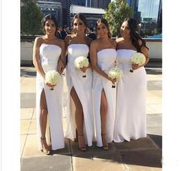 Sheath Wedding Dresses Split Australia - 2019 New Stapless High Side Split Bridesmaid Dresses Floor Length Sheath Cheap Maid Of Honor Dresses Custom Maid Wedding Guest Gows