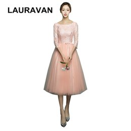 $enCountryForm.capitalKeyWord Australia - modest lace princess adult bridesmaid dresses teens in pink peach girls dress with lace half sleeves for bridemaide ball