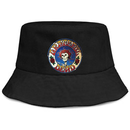 $enCountryForm.capitalKeyWord Australia - The famous Grateful Dead skull and roses logo black men fishing bucket sun hat cool blank Cute fashion personalized bucket suncap