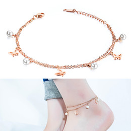 artificial chains wholesalers Australia - Rose Gold Artificial Pearl Butterfly Double Chain Ankle Anklets Stainless Steel Jewelry Women Summer Beach Barefoot Sandals Foot Bracelet