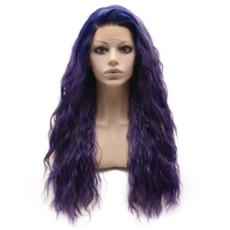 $enCountryForm.capitalKeyWord UK - Long Curly Lace Front Synthetic Hair Dark Root Purple Cosplay Party Wig Heat Resistant Fiber