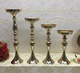 Moving flower online shopping - Gold Candle Holders Metal Stands Wedding flower Stand Flowers Floor Vase Metal Candlestick Candelabra Wedding Centerpieces Flower Decoration