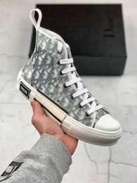Quality college backpacks online shopping - Newest Flowers Technical Canvas quot B23 quot High Top Sneaker Oblique Casual High Quality Trainers Womens Mens Sneakers Dior Shoes A066