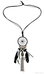 wholesale resin wings NZ - idealway 4 Colors Fashion Feather Leather Resin Beads Dream Catcher Alloy Wings Chain Tassel Pendant Long Necklace