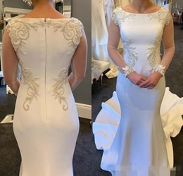 MusliM wedding dress green online shopping - Modest Long Illusion Sleeves Mermaid Wedding Dresses Chapel Train Embroidery Beading Arabic Wedding Birdal Gown vestido de novia