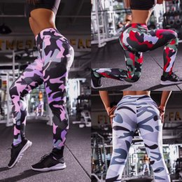 Yoga Pants Xl Australia - Women Personal Camouflage Printed Body-building Sport Yoga Capris Long Pants 3Colors Lady Stretchy Skinny Leggings Size S-XL