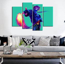 $enCountryForm.capitalKeyWord Australia - 4 panel Unframed KOF Kyo Finger Gun Fire Anime Poster Print On Canvas Wall Art Picture For Home and Living Room Decor