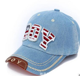 $enCountryForm.capitalKeyWord Australia - 1pcs lot free shipping baby Kids Baseball Cap snapback Hats Boys Girls sun Hat children denim baseball cap