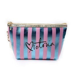 $enCountryForm.capitalKeyWord Australia - Portable Makeup Case For Women Cosmetic Bags Pouch Travel Organizer Purse Wristlet With Zipper Striped Bags