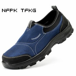 work shoe covers NZ - plus size men fashion slip on steel toe cover work safety shoes platform anti-pierce tooling security boots protective footwear