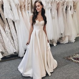 Delicate Lace Back Wedding Dress Australia - 2019 New Delicate Beading A-Line Wedding Dress Bow Knot Spaghetti Straps White Ivory Bridal Gowns Sweep Train Lace Up Back Vestido De Novia