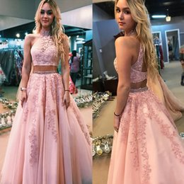 Open back evening dresses high neck online shopping - New Charming Two Pieces Prom Dresses Appliques Beads Sweep Train Open Back Modern Vestidos De Fiesta Gorgeous Formal Party Evening Gown