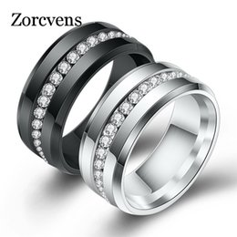 Wholesale ZORCVENS Black and Silver Color Titanium Stainless Steel Rings For Women White CZ Stone Fashion Jewelry