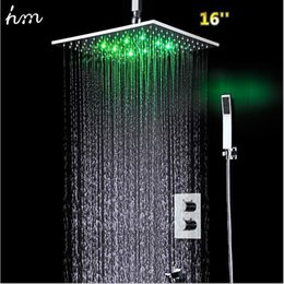 $enCountryForm.capitalKeyWord NZ - Luxury 16 Inch 304SUS Rain Shower Set 2 Way Conceal Thermostatic Mixer Bathroom Accessories Hydro Power Bath LED Faucet Mixer 20180927#