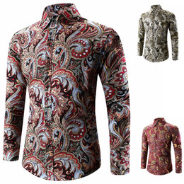 men s red satin shirt 2019 - Spring Men Single Turn Collar Winter Brested Buttons Shirt Autumn Long Party Paisley Printed Fashion Sleeve Down Casual