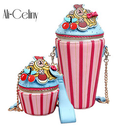 Ice Cream Man Australia - 2019 Cute Cartoon Women Ice Cream Cupcake Mini PU Leather Bags Small Chain Clutch Crossbody Girl Shoulder Messenger Bag