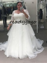 $enCountryForm.capitalKeyWord Australia - Plus Size A Line Wedding Dresses With long Sleeves Lace Appliques Beaded Sash Garden Beach Bridal Gowns robe de mariee