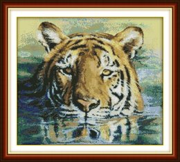 Tiger Tools Australia - A tiger in water Drawing decor paintings ,Handmade Cross Stitch Embroidery Needlework sets counted print on canvas DMC 14CT  11CT