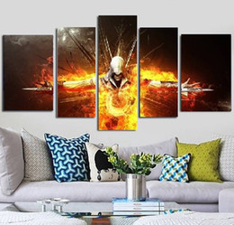 Oil Fire NZ - 5pcs set Unframed Fired Man Game Poster Assassin's Creed Oil Painting On Canvas Giclee Wall Art Painting Art Picture For Home