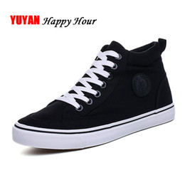 $enCountryForm.capitalKeyWord Australia - Mens Sneakers Fashion Canvas Shoes Flat High top Men's Casual Shoes Cool Street Brand Classic Black White A136