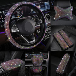 Wholesale Colorful Rhinestones Crystal Car Seat belt cover pad Gear Shift Set Diamond Steering wheel cover Auto Interior accessories Kit
