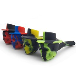 Plastic holder cheaP online shopping - Multi Colorful hat hand pipe Plastic holder silicone body Smoking Pipes high quality cheap price