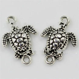 antique turtle necklace Australia - Little Turtle Pendant Double Hole Pendants DIY Necklace Accessories Widgets Antique Silver 21X14 Mm Zinc Alloy