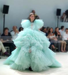 $enCountryForm.capitalKeyWord UK - 2019 Mint Green Lush Tiered Tutu Prom Gowns Short Sleeves Tiered Long Party Ball Gown Vestido De Festa Longo
