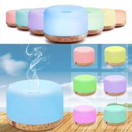 lighting oil lamps UK - 500ml Essential Oil Diffuser Humidifier Room Decor Lighting Settings LED Changing Lamps and Waterless Auto Shut-Off Home Fragrances WX9-1248