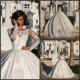 $enCountryForm.capitalKeyWord Australia - 2019 New Ball Gown Wedding Dresses Crystal Long Sleeve Satin Wedding Dress bridal Gown Lace Applique Vestidos De Novia Long Train