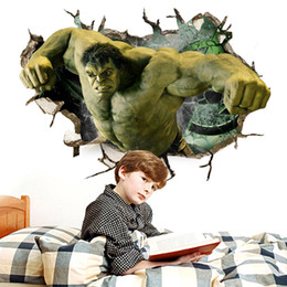 Avengers Wall Stickers NZ - Retail 50*70cm through the wall hulk new avengers cartoon wall paste bedroom children room three-dimensional wall stickers