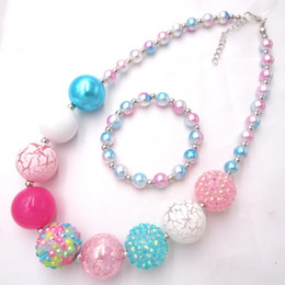 new earring models 2019 - New Model child chunky beads necklaces colorful Toddler Girls Pearl bubblegum necklace Bracelet jewelry set for kids gif