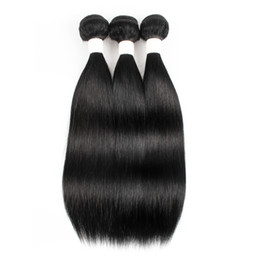 raw indian straight virgin hair 2019 - Kisshair Color #1 Brazilian Straight Human Hair Weaves Jet Black 3 Bundle Deals Raw Virgin Peruvian Malaysian Indian Cam