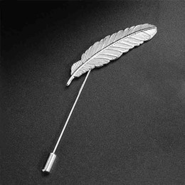 Asian Party Suits Australia - Men's Suits Leaf Brooches for Wedding Party Feather Shawl Pin Lapel Pin Uxedo Corsage Collar Pin Brooch Jewelry