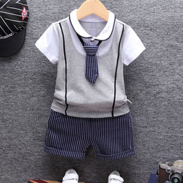 Boys Summer Suits For Wedding Australia - 1st birthday baby boy summer clothes set T-shirt tops+pants suit for summer newborns babies child clothing wedding costume sets
