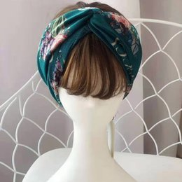 hair bands designer Canada - Designer Headbands Head Scarves For Women Flowers And Letter Printing Luxury Cross Hair Band With Elastic Turban