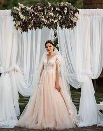 $enCountryForm.capitalKeyWord NZ - 2019 blush pink Wedding Dresses sheer v neck with 3D-Floral Appliques sweep train country bridal gown custom made plus size vestido de novia