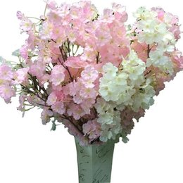China Silk Flower Cherry blossom flower Wedding Silk Flower Artificial Sakura 2 Color Option High Quality Vases Home Decoration suppliers